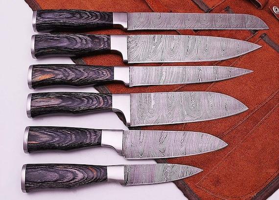 Handmade Kitchen Knife Set with Round Handle