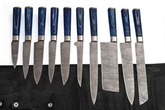 Handmade Damascus Steel Kitchen Knives Full Set