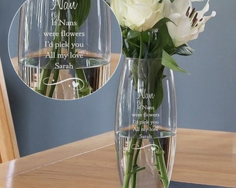 Personalised Engraved Large Vase Mothers Day Gift Flower Vase Mothers Day