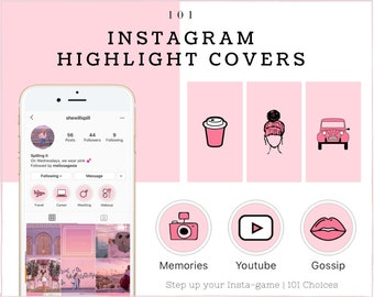 Instagram Story Highlight Icons Pink Etsy The typography and icons both come included. instagram story highlight icons pink etsy