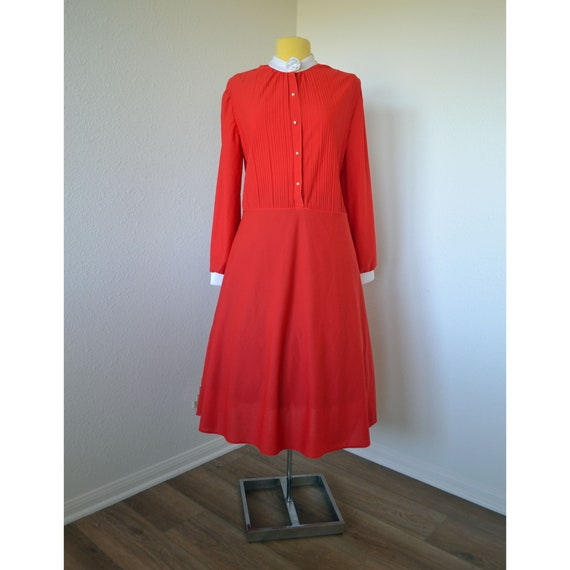 Vintage 70\'s Red & White Sears Plus Size Holiday Dress