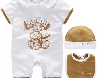Gucci Baby Onesie with Hat and Bib Newborn Set 3f17f2fb8e7
