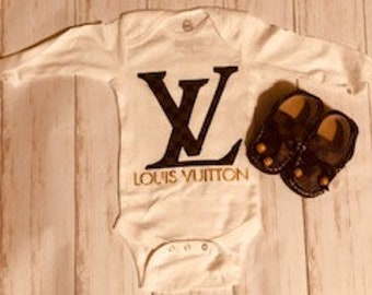 8069c0509 Louis Vuitton Baby Onesie, Brown Damier Logo