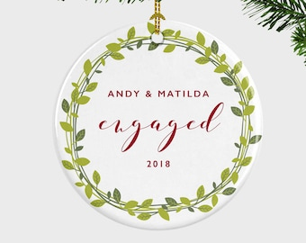 engagement christmas ornament wreath christmas ornament engaged ornament engagement gift christmas gift gift for couplegift for fiance
