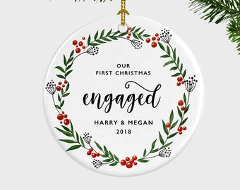 our first christmas engaged ornament engagement announcement christmas ornament first christmas engaged engagement giftgift for fiance