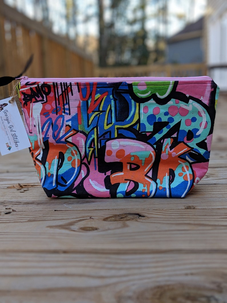 45037824cab2 Extra-Large Zipper Pouch - Graffiti Cosmetic Bag - Makeup Case - Hair  Storage