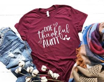 Aunt Shirt   One Thankful Aunt   Favorite Aunt Tshirt   Family Shirt   Thankful Shirt   Gift for New Aunt   Women's Clothing   Niece, Nephew