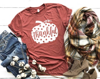670cf1c5f Thankful Shirt | Pumpkin TShirt | Polka Dot Pumpkin T-shirt | Fall Shirts | Thanksgiving  Shirt | Fall Womens Tee | XS-3XL | Choose Colors