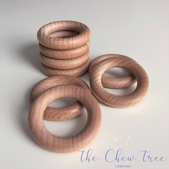 5Pcs//set Safe Natural Wood Baby Teething Rings Teethers DIY Making Necklace Tool