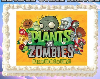 Plants vs Zombies Birthday Edible Cake Topper 1//4 1//2 sheet Frosting