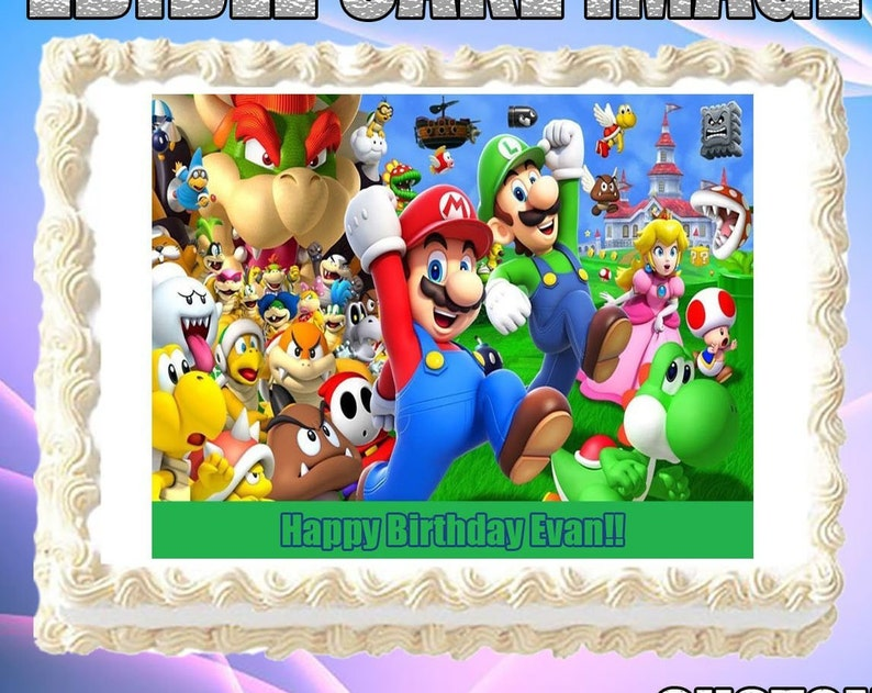 Celebrations & Occasions Home, Furniture & DIY 1/2 Sheet 11x17 SUPER MARIO BROTHERS LUIGI Edible Cake Topper Frosting Birthday