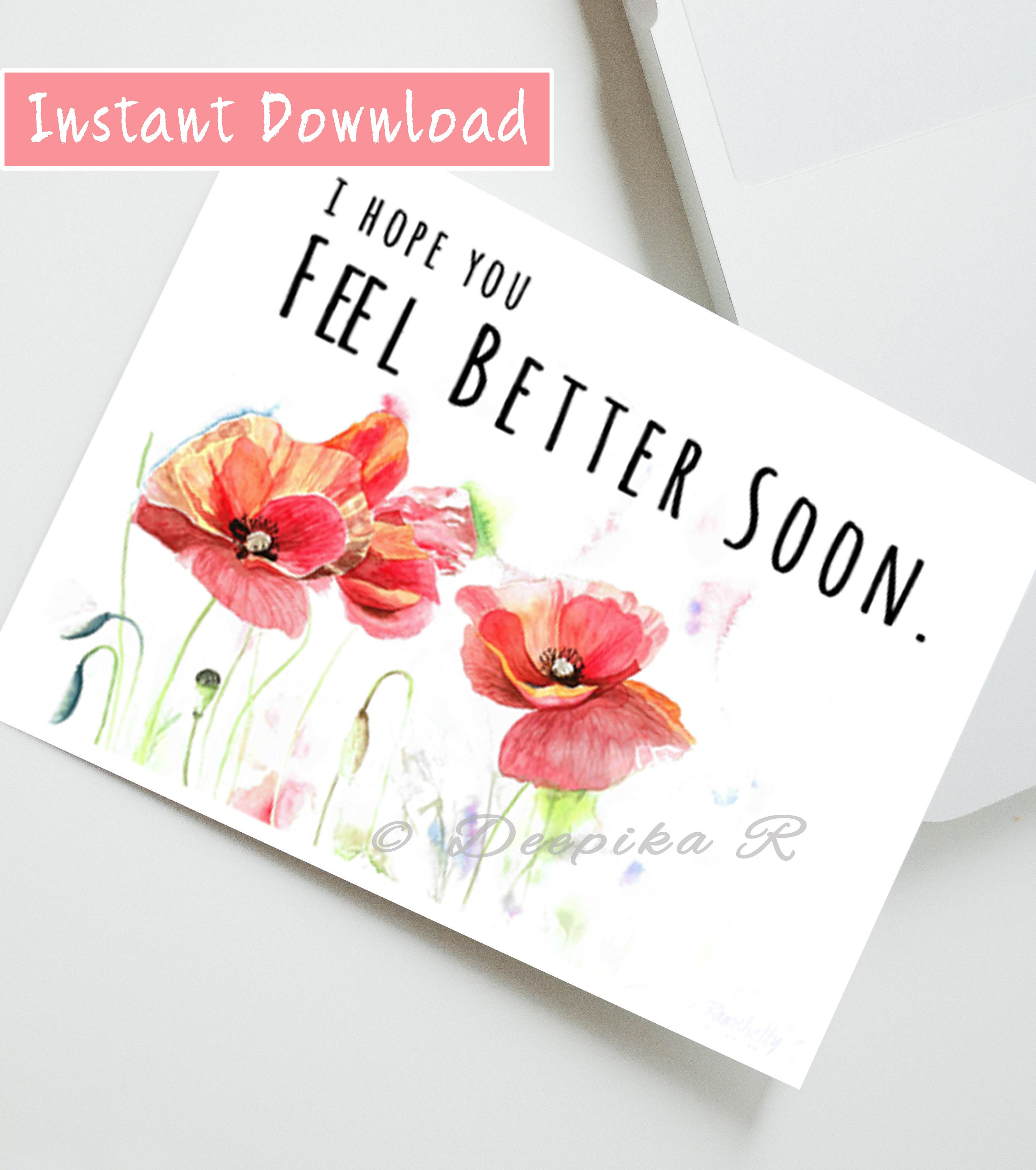 Printable Get Well Card Feel Better Soon Floral Get Well Etsy