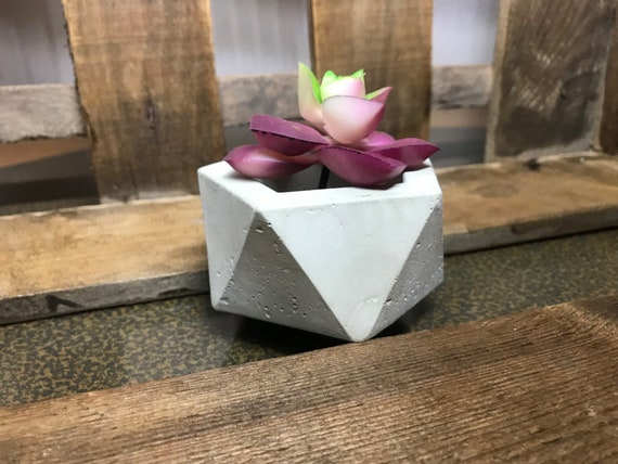 Concrete Flower Pot Tea Light Holder Geometrically Modern Pot Concrete Design Tea Light Candle