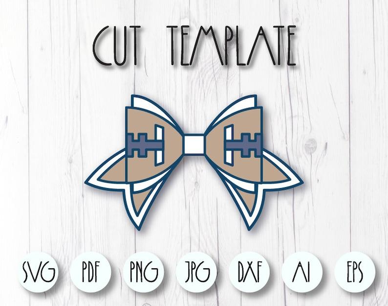 Cricut Bow svg template Sport hair bow Cricut SVG Faux leather bow template Football bow SVG Bow template SVG