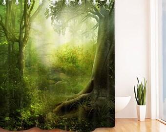 Curtains, Drapes & Valances 3d Sun Snow Woods 7 Shower Curtain Waterproof Fiber Bathroom Home Windows Toilet