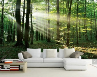 forest wall mural etsysun misty forest tree view 3d wall murals, scenery wallpaper mural wall mural decal,printed photo wall papers,flash silver cloth wallpapers