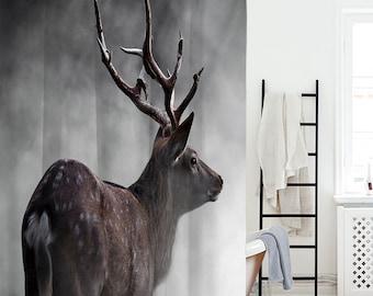 ELK Forest Shower Curtain For Bathroom Waterproof Polyester Fiber Animal Curtains Art Bath Home Window Toilets Landscape
