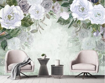 flower wall murals etsy3d watercolor rose flower wall murals floral wallpaper mural,hand painting wall mural decal, art wall decor murals printed photo wall papers