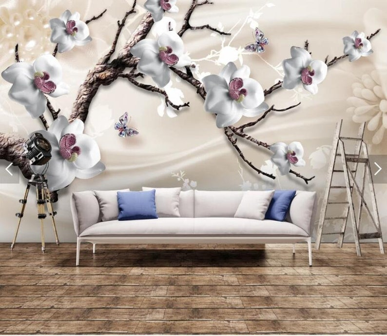 Embossed Flower Wallpaper Stereo Wall Mural Art Wall Painting Murals HD Photo Wall Papers Roll Printed Floral Wall Coverings