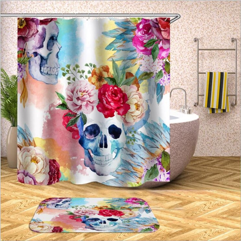 Turquoise Shower Curtain Skull and Flowers Print for Bathroom