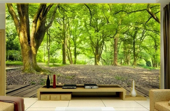 3D Nature Forest Tree Wallpaper Mural Home Wall Mural Decal  Etsy