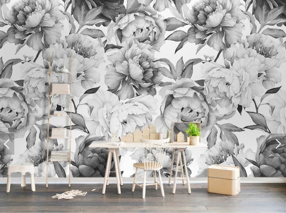 Black White Peony Flower Wallpaper Mural Art Wall Decals Home Wall Decor 3d Printed Photo Floral Wall Paper Rolls Contact Paper For Bedroom