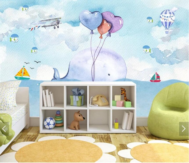 Watercolor Carton Whale Wall Mural Kids Room Wallpaper Murals Waterproof Canvas Mural for Child Room Hand Printed Wall Papers Roll