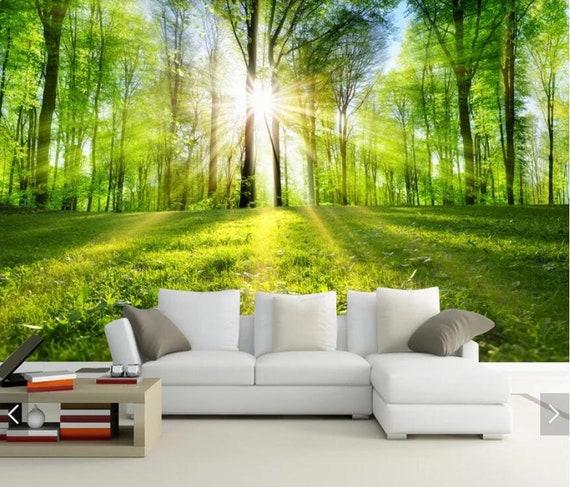 Sun Forest Tree View 3D Wall Murals Nature Wallpaper Mural  Etsy