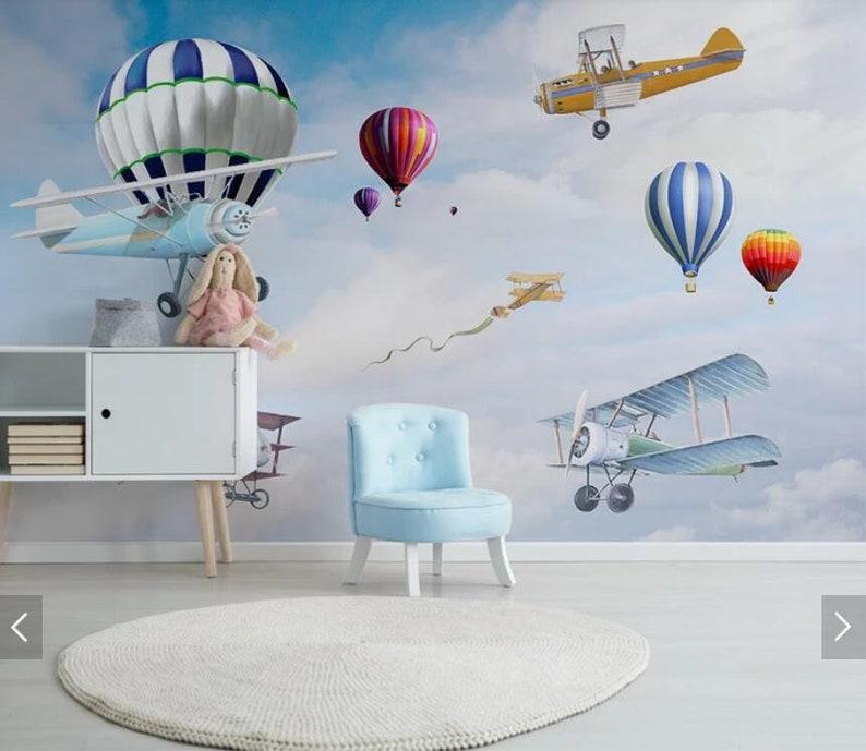 Hot Air Balloons Airplane Wallpaper Murals Waterproof Wall Mural for Kids Bedroom Children Room Hand Printed Photo Wall Paper Home Wall Art