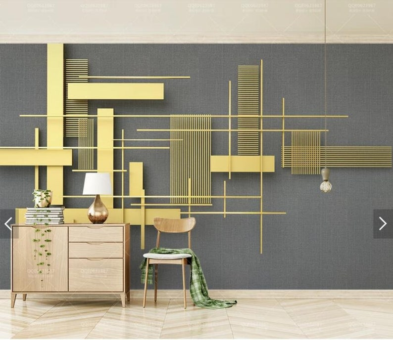 Vintage Metal Square Wallpaper Abstract Geometric Wall Mural Art Wall Painting Murals HD Photo Wall Paper 3D Printed Wall Covering