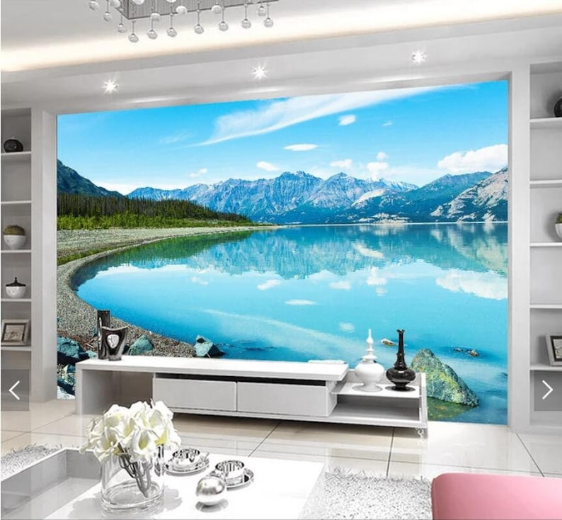 Snow Mountain Blue Lake View 3D Wall Murals Scenery Wallpaper Mural Wall Mural Decal,Printed Photo Wall Papers,Flash Silver Cloth Wallpaper