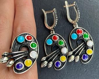 Art palette ring art palette jewelry Silver art palette ring Artist palette jewelry Artists palette ring Gift for artists gift for painters