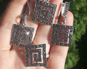Square earrings Silver Marcasite earrings Square ring Vintage jewelry Armenian marcasite Sterling silver Gift for daughter gift for mother