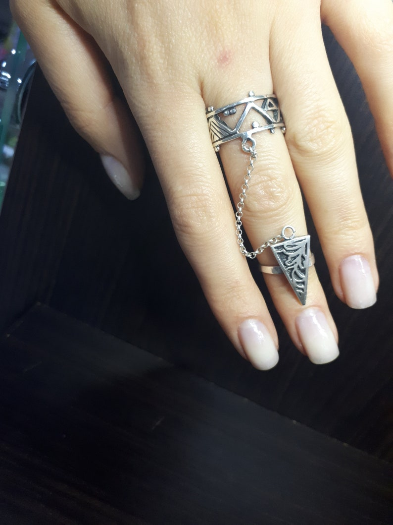 Double ethnic ring Chained ring Armenian ring Armor ring  Knuckle ring harness Double chain ring Sterling silver double ring Slave ring