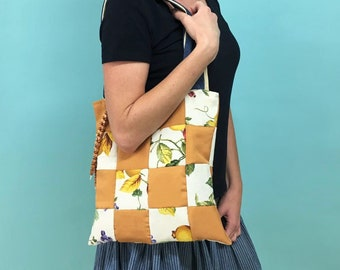 Boho bag beaded sequins  vintage shopper  Bohemian shopper brown colorful  ethnic schuter bag large  1990s bag