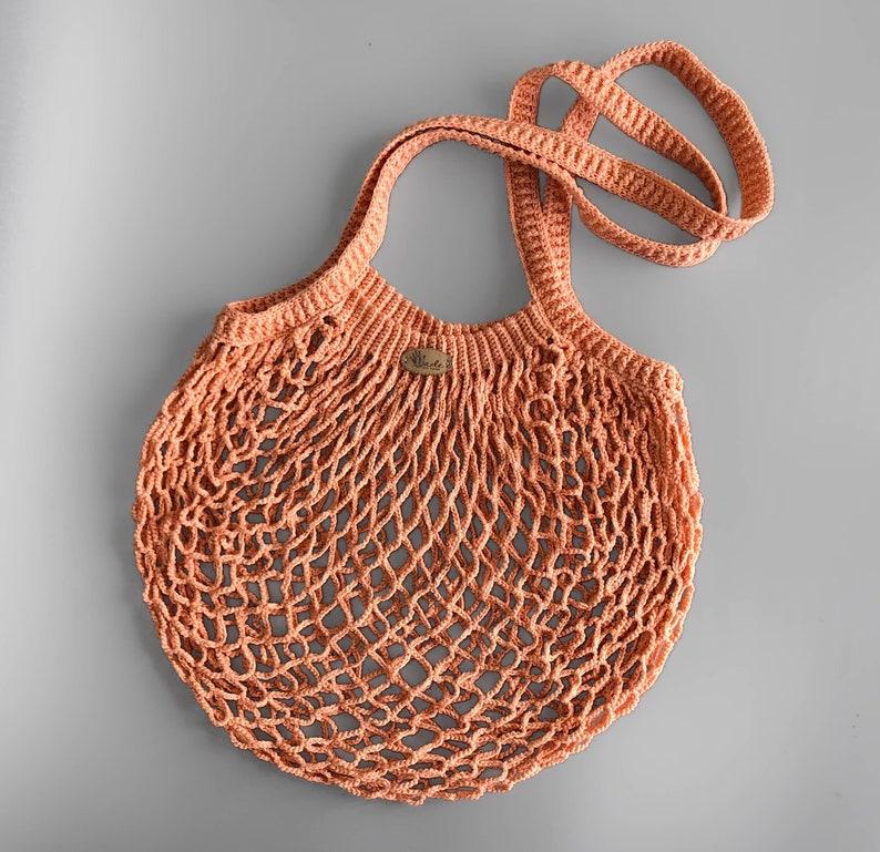 Burnt Orange Shopping bag Mesh Fishnet vegetable bag French Market bag Mercerised cotton natural bags Beach grocery tote