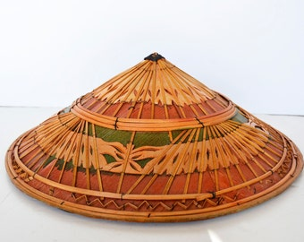 52c4900e1 rare vintage multicolor vietnamese vintage bamboo cone hat, rice hat, rice  field, sedge hat, asian, coolie hat, sedge hat, wall basket,