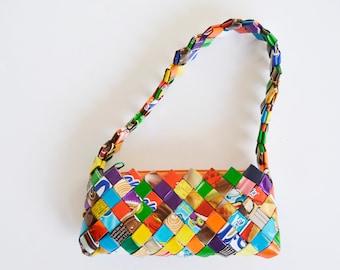 fef8b912e mini bag, magazine clipping bag, recycled bag, multicolor bag, handmade bag,  clipping bag, recycled bag,