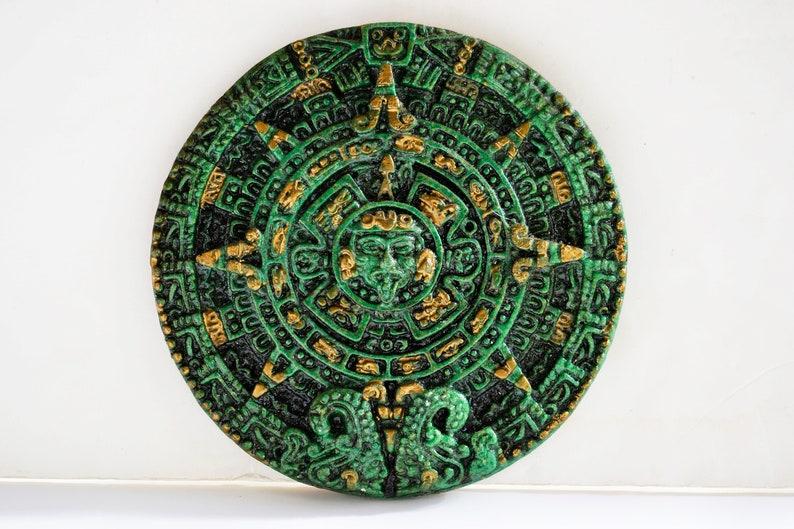 Aztec Mayan green stone, solar calendar, wall hanging, aztec calendar,  Aztec Maya calendar wall plaque, mexican sculptural disc, popular sun