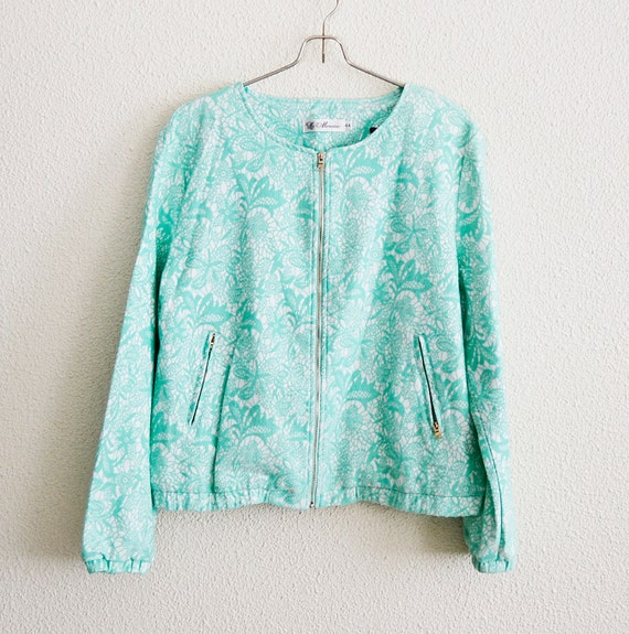 vintage jacket, women jacket, flower jacket, green