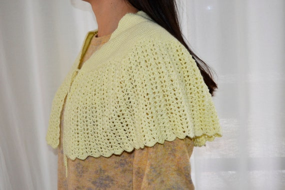 crochet cape, yellow cape, wedding cape, handmade