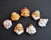 Japanese Toshikane 7 Fortune God buttons, Toshikane, 7 Gods of fortune, Arita porcelain, Seven lucky gods, Seven Immortals, Dignity