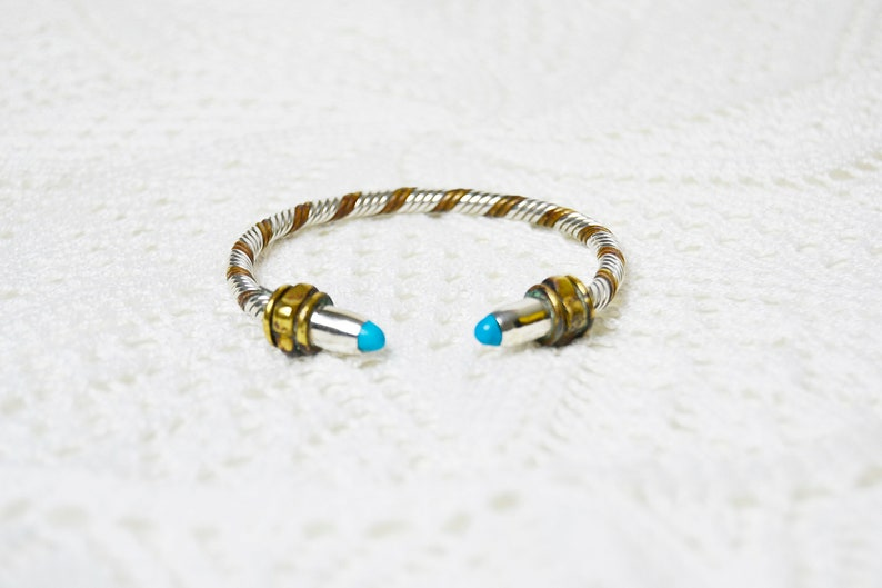 Mexican Sterling Cable Turquoise Cabochon Cuff Bracelet Two Tone