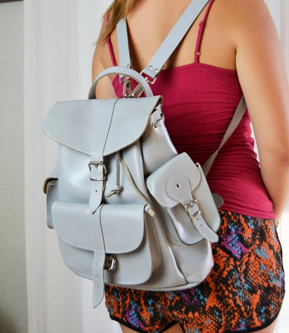 gray leather backpack, vintage backpack, leather b