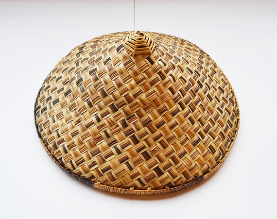 Vintage Handmade Woven Bamboo Coolie Hat, Authenti