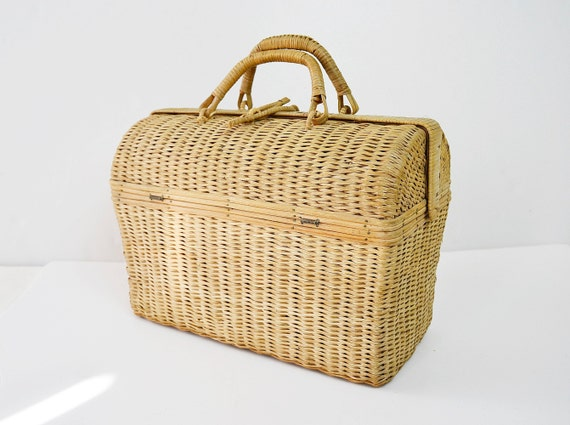 hand wicker bag, wicker 50's bag, wicker briefcase