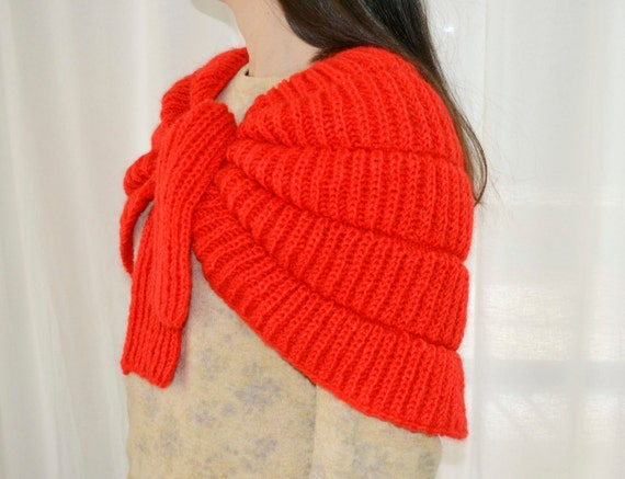 red cape, knitted cape, warm cape, wool cape, shou