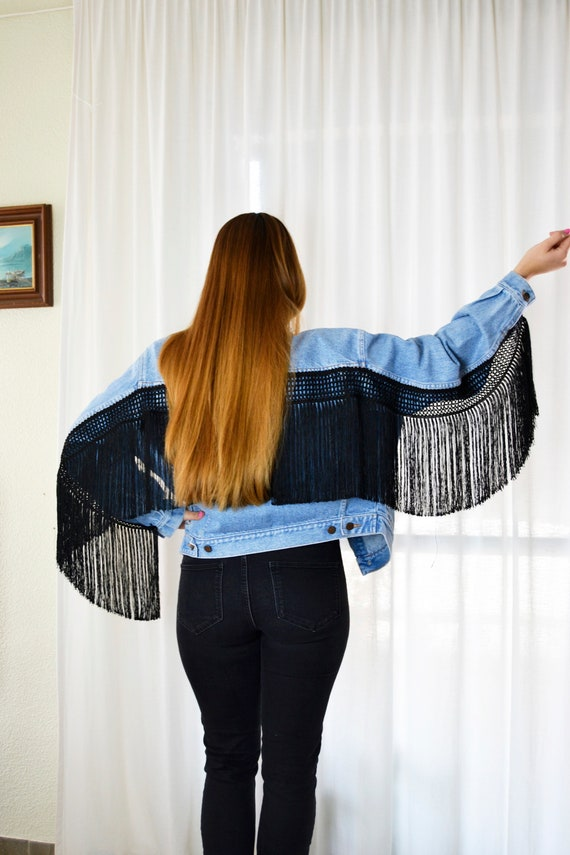 Fringed Denim Jacket, Fringe Denim Jacket, Denim F