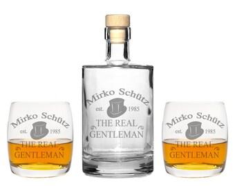 """2 Whiskeygläser mit Karaffe und Gravur /""""Lady/"""" Whisky Glas graviert Geschenk Idee"""