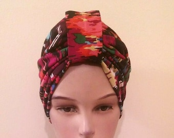 Fuchsia Pink Tie Dye soft fabric stretch headband kerchief 3in1 scrunch bandana